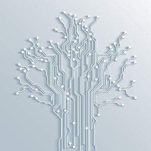 34438330 - 3d tree circuit board background - vector