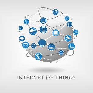 37922439 - internet of things modern connected world illustration as vector icons in flat design. globe with various connections between devices: such as smart phone, smart sensors and watch.